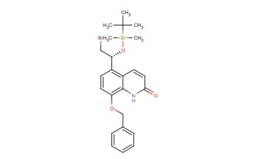 (8-(BENZYLOXY)-5-[(1R)-2-<span class='lighter'>BROMO</span>-1-{[<span class='lighter'>TERT-BUTYL</span>(DIMETHYL)SILYL]OXY}ETHYL]QUINOLIN-2(1H)-ONE )