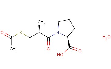 1-[(2S)-3-(ACETYLTHIO)-2-METHYLPROPIONYL]-<span class='lighter'>L-PROLINE</span> HYDRATE