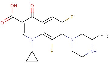 1-CYCLOPROPYL-6,8-DIFLUORO-7-(3-METHYLPIPERAZIN-1-YL)-4-<span class='lighter'>OXO-1,4</span>-DIHYDROQUINOLINE-3-CARBOXYLIC ACID
