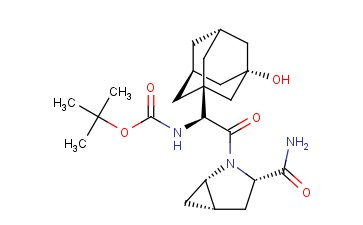 CARBAMIC ACID, N-[(1S)-2-[(1S,3S,5S)-3-(AMINOCARBONYL)-2-AZABICYCLO[3.1.0]HEX-2-YL]-1-(3-HYDROXYTRICYCLO[3.3.1.13,7]DEC-1-YL)-2-OXOETHYL]-, 1,1-DIMETHYLETHYL ESTER
