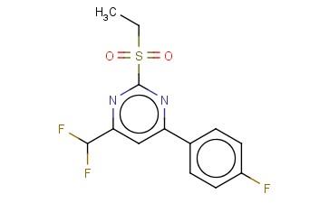 4-(DIFLUOROMETHYL)-2-(ETHYLSULFONYL)-6-(4-FLUOROPHENYL)PYRIMIDINE