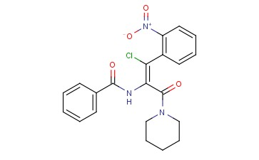 (Z)-N-(1-<span class='lighter'>CHLORO</span>-1-(2-<span class='lighter'>NITROPHENYL</span>)-3-OXO-3-(PIPERIDIN-1-YL)PROP-1-EN-2-YL)<span class='lighter'>BENZAMIDE</span>