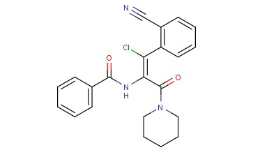 (Z)-N-(1-<span class='lighter'>CHLORO</span>-1-(2-CYANOPHENYL)-3-OXO-3-(PIPERIDIN-1-YL)PROP-1-EN-2-YL)<span class='lighter'>BENZAMIDE</span>