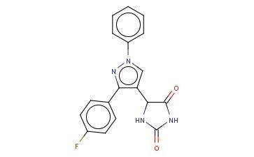 5-(3-(4-FLUOROPHENYL)-1-PHENYL-1H-PYRAZOL-4-YL)IMIDAZOLIDINE-2,4-DIONE